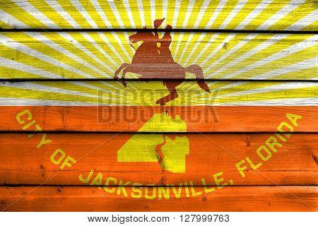 Flag Of Jacksonville, Florida, Painted On Old Wood Plank Background