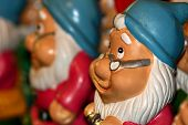 stock photo of  midget elves  - santa dwarf ceramic figuresblue hat christmas series - JPG