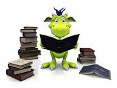 foto of storytime  - A cute friendly cartoon monster reading a book that he is holding in his hands - JPG