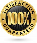 100 Percent Satisfaction Guaranteed Golden Sign With Ribbon, Vector Illustration poster