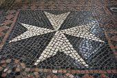foto of maltese-cross  - Maltese Cross paving in Prague near the maltese Square - JPG