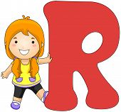 Illustration of a Girl Leaning Against a Letter R