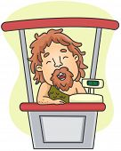 Illustration of a Caveman Standing Beside the Cash Register