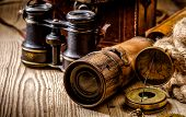 Vintage Grunge Still Life. Antique Items On Wooden Table poster