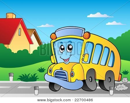 Road with school bus 2 - vector illustration.