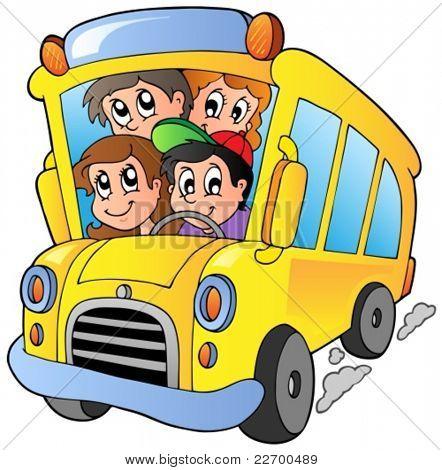School bus with happy children - vector illustration.