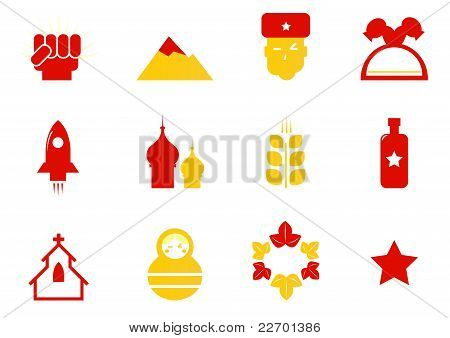 Russia Icons & Communist Stereotypes Isolated On White ( Red & Yellow ).