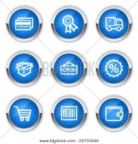 Shopping web icons set 2, blue  buttons
