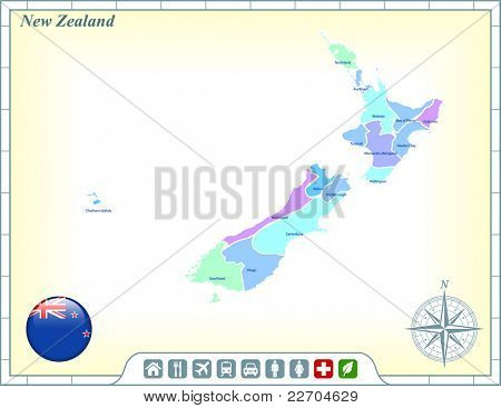 New Zealand Map with Flag Buttons and Assistance & Activates Icons Original Illustration