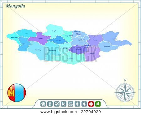 Mongolia Map with Flag Buttons and Assistance & Activates Icons Original Illustration