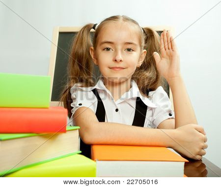 School Girl Ready To Answer For Teacher Question