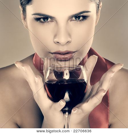 Beautiful Young Girl  With  Glass Of Wine
