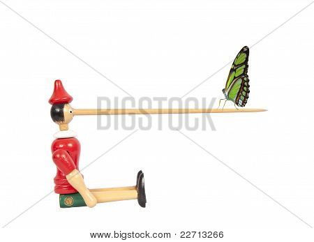 Wooden Pinocchio Doll With Long Nose