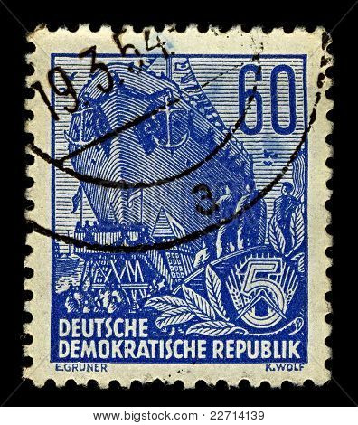 GERMANY-CIRCA 1953:A stamp printed in GERMANY shows image of Slipway (from the NL. Stapel) - Facilities for the construction of the vessel and its descent into the water, circa 1953.