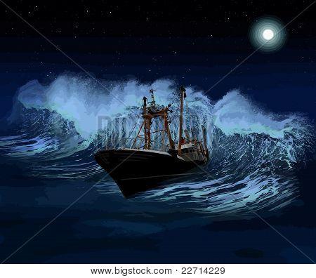Sinking Ship At Night Vector