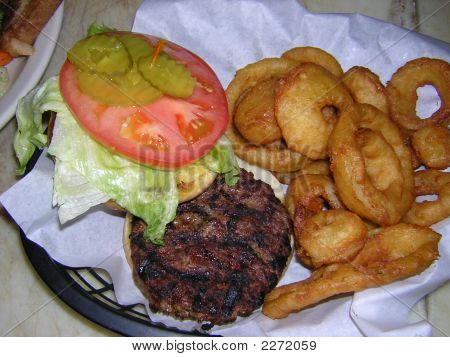 Burger And Onion Rings
