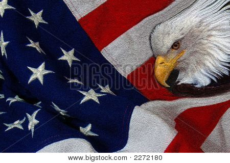 Eagle And Flag Textured