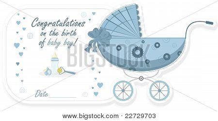 Stroller for baby boy, vector illustration