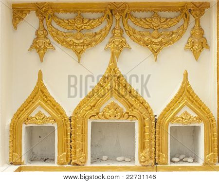 Templo de parede na Tailândia.