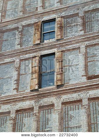 a facade painted on a facade