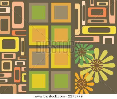 Retro Squares And Flower Desgin