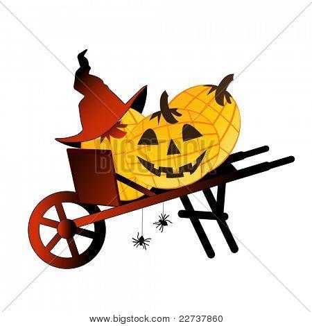 wheelbarrow with pumpkins