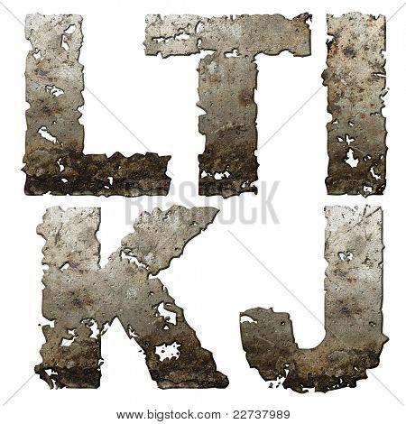 Eisen-Buchstaben mit zerrissenen Rand isolated on white Background (Serie).