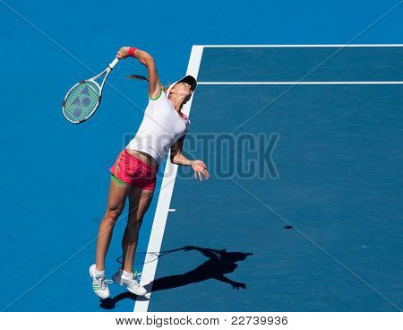 MELBOURNE, AUSTRALIA - JANUARY 28: Maria Kirilenko of Russia in the women's doubles final at the Australian Open on January 28, 2011 in Melbourne, Australia
