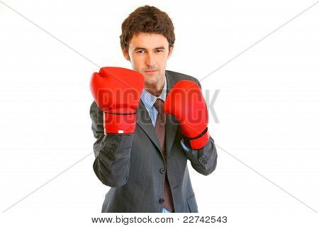 Angry Modern Businessman With Boxing Gloves