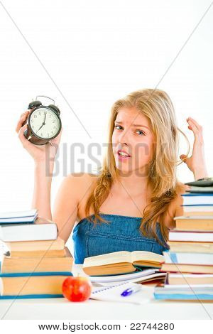 Stressed Teengirl Worrying About Running Out Of Time