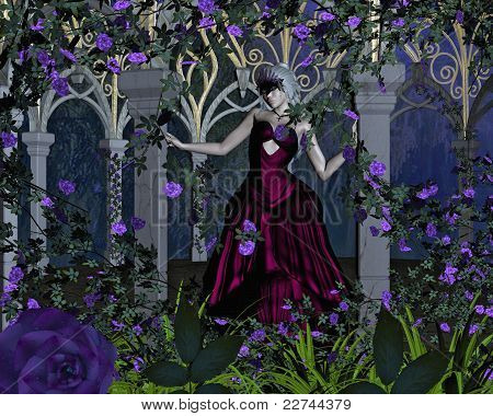 Woman with Venetian Carnival Mask in Rose Arbour