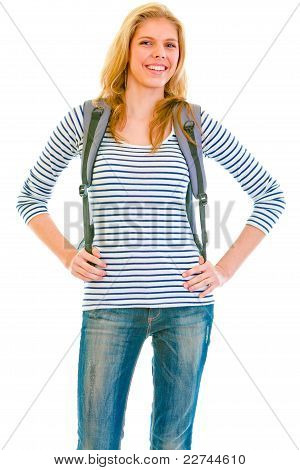 Cheerful Teen Girl With Backpack