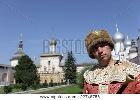 Portrait Of Tourist In Boyar Clothes