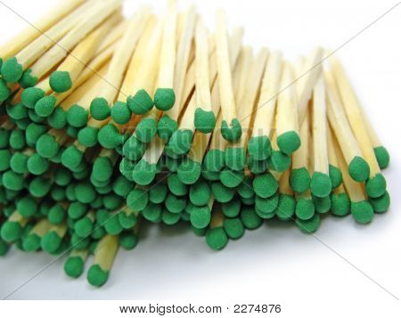 Green Matches Isolated On White