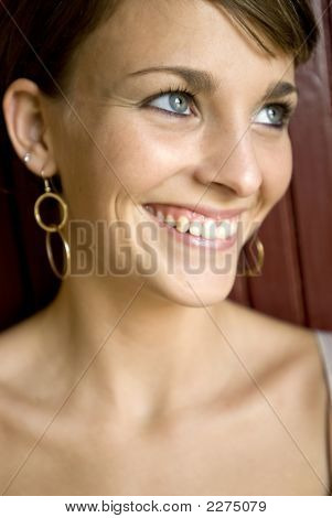 Blue Eyed Woman Smiling