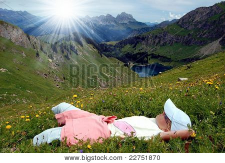 girl relaxed in the Swiss Alps