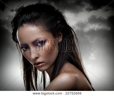 Sensual Brunette With Multicolored Makeup