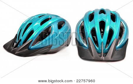 bicycle cross country plastic helmet isolated on white