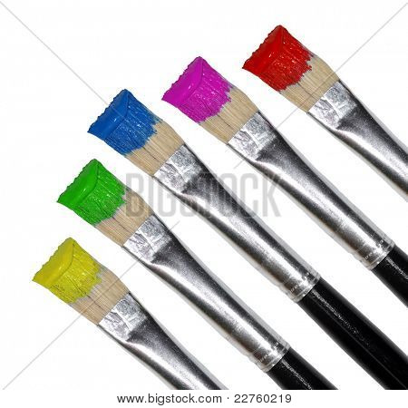Paint brushes on white