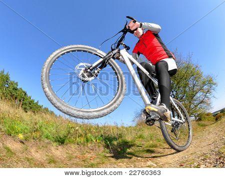 Biker photographed fisheye