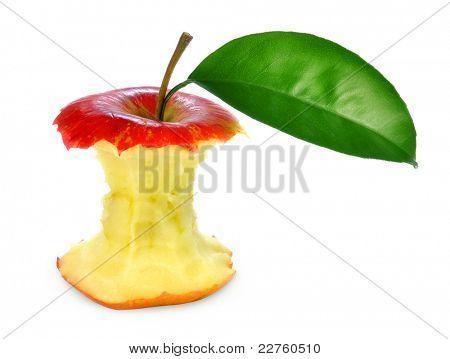Bitten apple on isolated