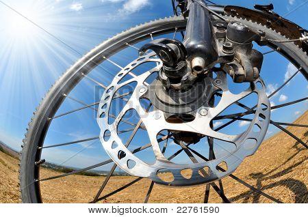 detail disc brakes on mountain bike