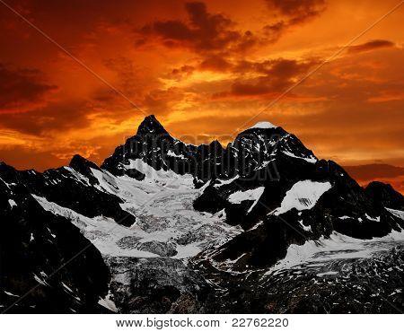 sunset on the Ober Gabelhorn