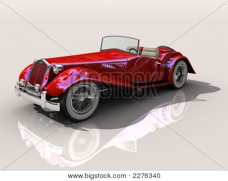 Vintage Red Sports Car 3D Model