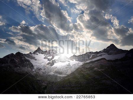 sunrise on the Ober Gabelhorn - Swiss Alps