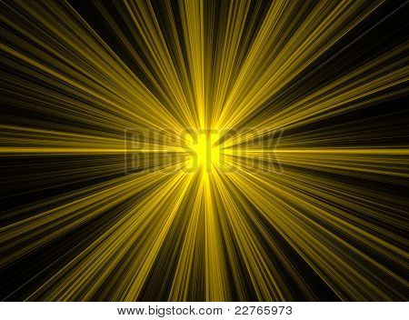 Abstract Yellow Fractal Explosion