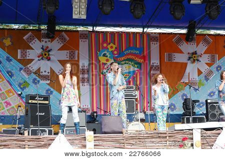 Veliki  Sorochintsi Village, Poltava Region, Ukraine - August 20: Ukrainian Modern Pop Group In Clot