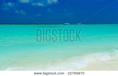 Sand Beach And Ocean Vessels, Ari-atoll. Maldives
