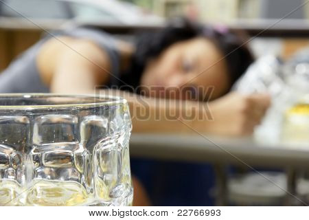 Drunk Young Woman Shallow Dof