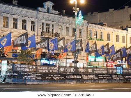 Kyiv, Ukraine - August 2011: Ukrainian Opposition Protest Against The Judicial Proceedings Against Y